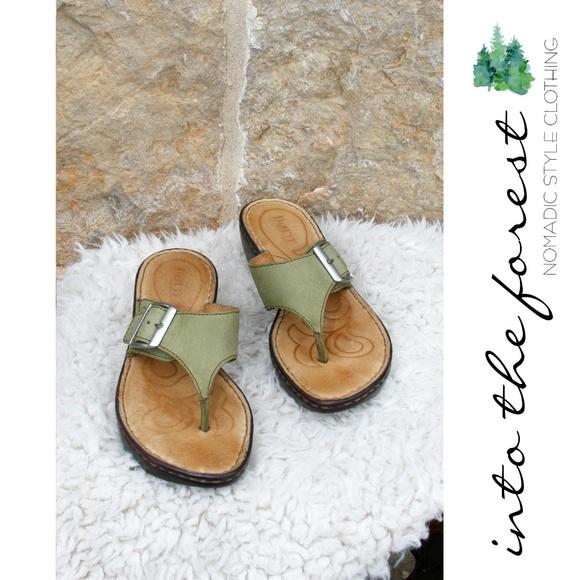 b0fbc671d80e Born Shoes - Born Sage Green Leather Wedge Sandals Size 7